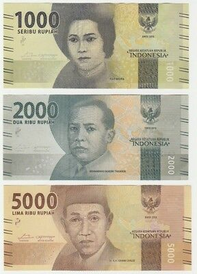 Indonesia 1000 2000 5000 Rupiah 2016 UNC Uncirculated Banknote Set - 3 pcs