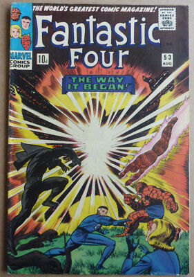 FANTASTIC FOUR #53, CLASSIC SILVER AGE with 'BLACK PANTHER' ORIGIN, 1966.