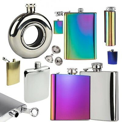 Hip Flask Stainless Steel Oil Slick Metallic Rainbow Party Camping Christmas UK