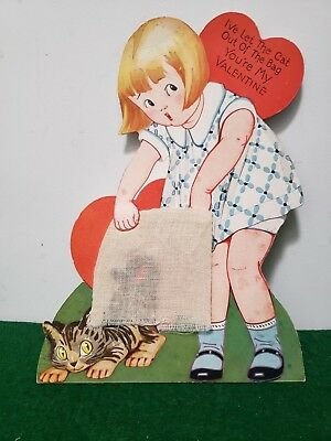 """Large Vintage Valentine Card - Let The Cat Out Of The Bag - 8 1/4"""" By 6"""""""