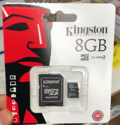 Kingston Micro SD 8GB SDHC Memory Card SD TF Mobile Phone Class 4 Card Adapter