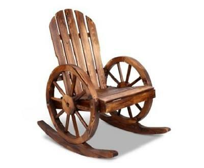 Rocking Single Rustic Look Patio Deck Wooden Wagon Wheel Garden Bench Seat Chair