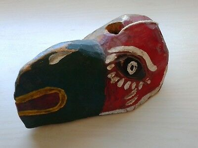 GUATEMALAN MAYAN Tucan Wooden Mask - Antique Folk Art - Hand Carved & Painted