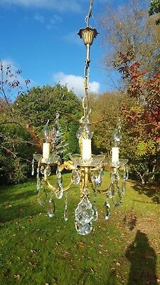 very pretty vintage French brass 3 arm chandelier with pretty drops (2038)