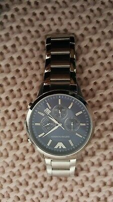 Emporio Armani Mens AR2448 Blue Dial Stainless Steel Chronograph Watch