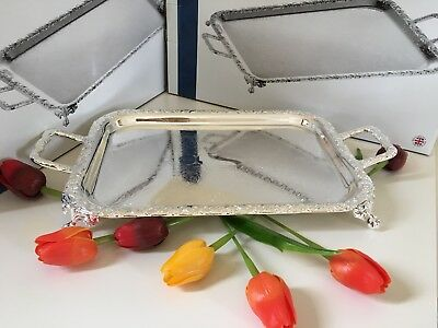 Vintage Silver Plated Oblong Tray With Handles&Legs- Mother's Day Gift-NEW