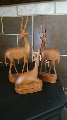 Set of 3 HAND CARVED WOOD GAZELLE IMPALA ANTELOPE SCULPTURE AFRICAN WOODEN