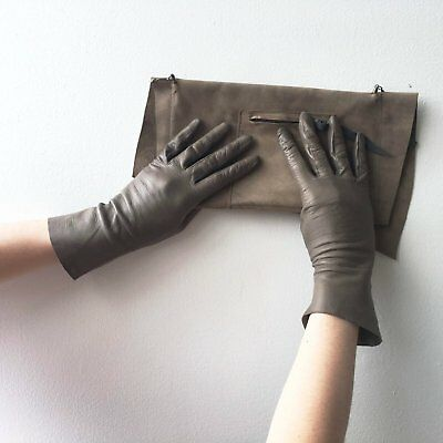 Leather Gray Gloves Vintage Accessory