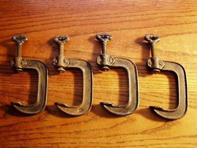 "Antique Vintage Lot of 4-- 2"" Cast Iron ""C"" quilting  Clamps Skeleton Key"