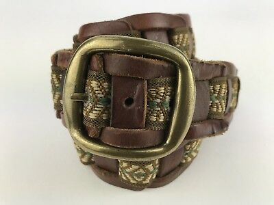 """VTG Women's 43"""" Long Brown Leather With Woven Tapestry Embedded Belt"""