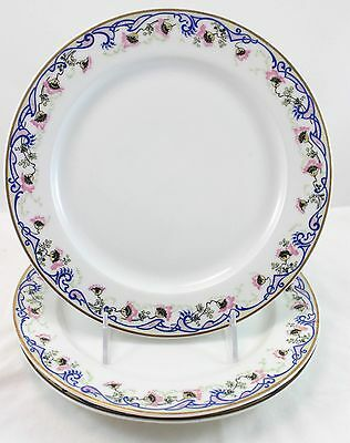 3 Dinner Plates Redon Limoges France China  White Gold Blue Pink Floral Rdn105