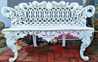 Beautiful Antique Cast Iron White  Bench Settee
