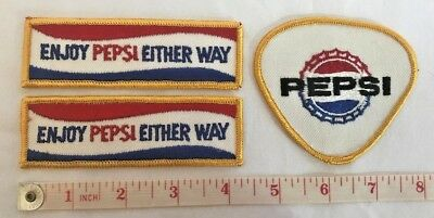 EMBROIDERED PATCH (3) ENJOY PEPSI Bottle Cap Employee Badge?   * NEW Estate