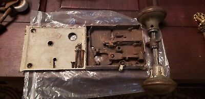 Antique Door Knob & Lock Plate Set