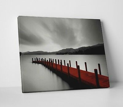 Black White & Red Jetty Lake Landscape Modern Home Canvas Wall Art Picture Print