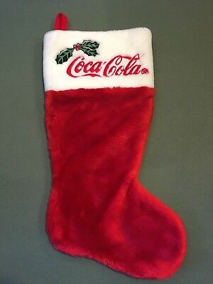 Coca Cola Red And White Christmas Stocking With Holly Leaf And Berry