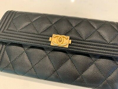 Chanel Boy Wallet Long Quilted Black Caviar Leather Gold Hardware