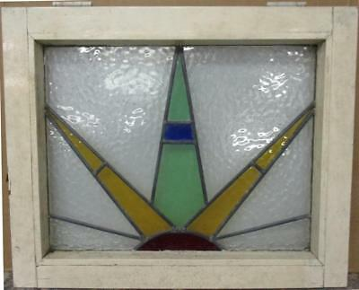 "MID SIZE OLD ENGLISH LEADED STAINED GLASS WINDOW Colorful Sun Burst 23"" x 18.75"""