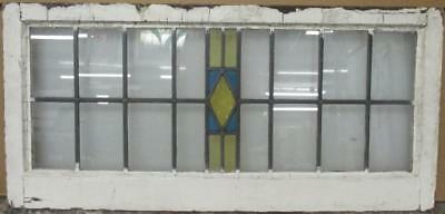 """OLD ENGLISH LEADED STAINED GLASS WINDOW TRANSOM Simple Diamond 34.75"""" x 16.5"""""""