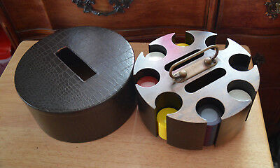 Very Old Mid Century Vintage Poker Chips,& Cards WOOD Carrying Case, w Chips