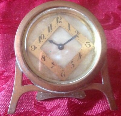 Vintage Small Attractive German Bedside Clock, Bronze & Mother Of Pearl