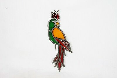 Vintage Stained Glass Parrot Bird Art Decoration Display Colorful Green Red