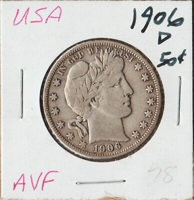 USA 1906-D | BARBER HALF DOLLAR 50 cents | AVF