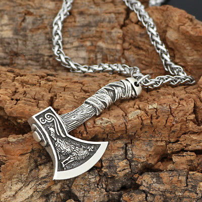 Men's Vintage Silver/Bronze Norse Viking Wolf Axe Amulet Pendant Necklace Gifts