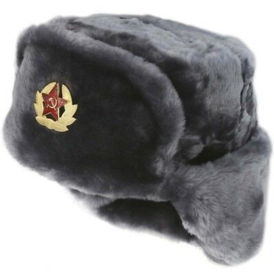 Russian Winter Hat Ushanka Soviet Army Trapper Military | GRAY + PIN | SIZE 60