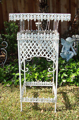 Vtg Antique Ornate Victorian Iron French Garden Patio Plant Stand  CHIC & SHABBY