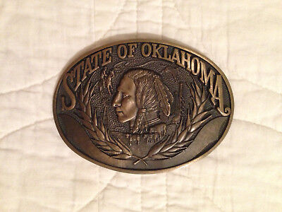Vintage 1980s State of Oklahoma Commemorative Solid Brass Buckle