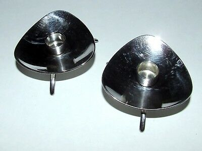 2 Cohr Denmark Heavy Silverplate Candle Holders~Taper~Footed~Danish Modern