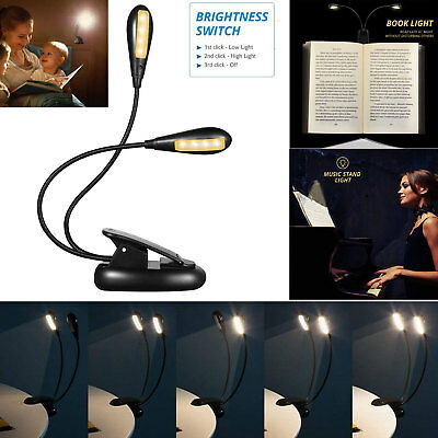 8 LED Reading Light Eye-Care Rechargeable USB Book Lights Dual-Head Light Gift
