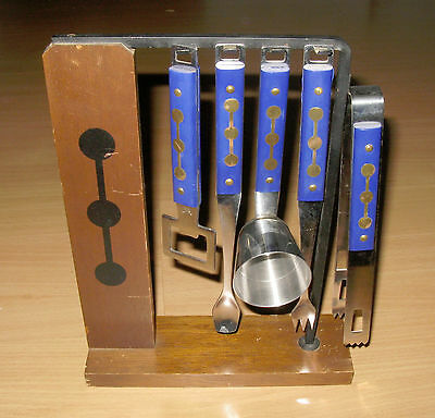 Vintage 5 Piece Bar Tool Set & Wood Rack Stand Stainless With Blue Handles