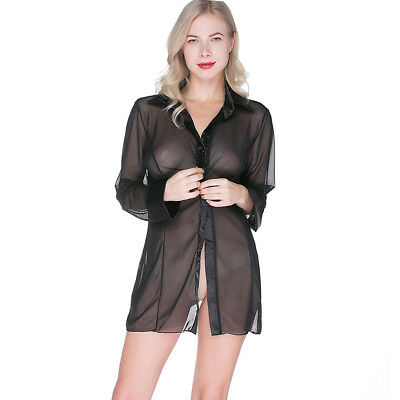 UK Womens Sheer Mesh Blouse Button Shirt Summer Tops Nightshirt Sleep Shirts