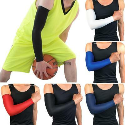 MEN Black Elastic Cooling Arm Sleeves Cover UV Sun Protection Basketball Sport -