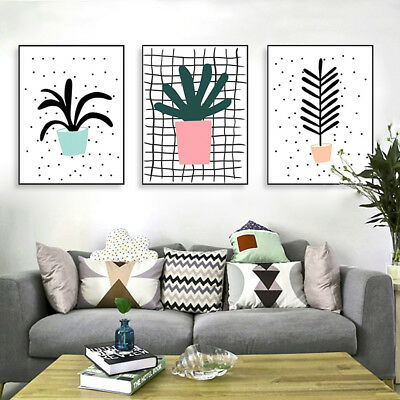 Kawaii Green Leaves Plant Poster Print Nordic Home Deco Wall Art Canvas Painting