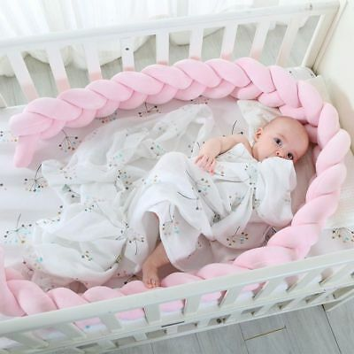 Baby Bed Bumper 200cm Length Weaving Plush Baby Crib Protector Room Decoration