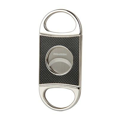 CIGARISM Genuine Carbon Fiber Stainless Steel Cigar Cutter Punch