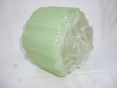 ANTIQUE BIG ART DECO GREEN GLASS CEILING LIGHT SHADE - 21cm diameter - 1920s