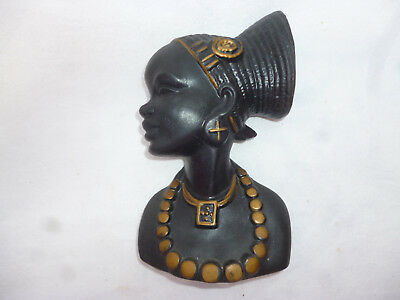 VINTAGE BARSONY BLACK LADY WALL ORNAMENT - looks great but has been repaired