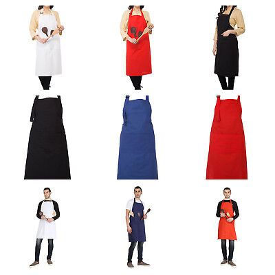 Aprons with Pockets for Restaurant Home Unisex Solid Cotton BBQ Aprons Bib