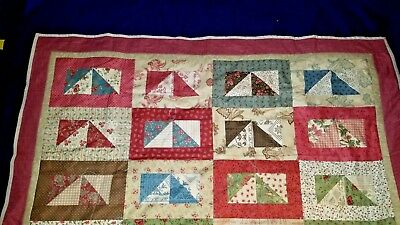 NEW Baby Quilt Lap Quilt Throw Cotton Handmade Triangles Boy Girl