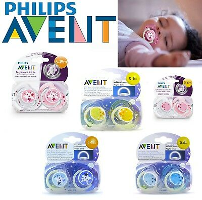 Baby Philips Avent Soother Dummy Nipple 0-6m 6-18m Pacifier Night Time