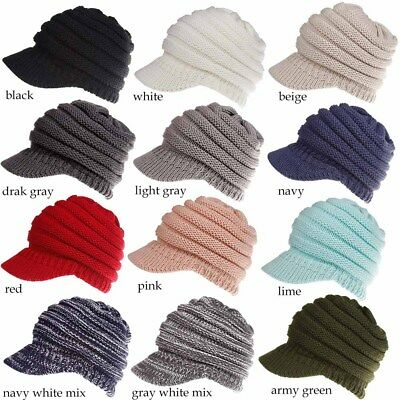 Women Stretch Knit Hat Messy Bun Ponytail Beanie Winter Warm Knitted Hole Cap FA