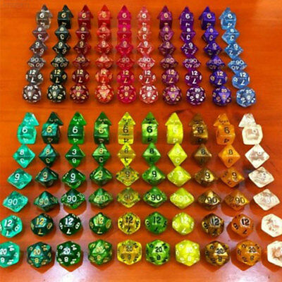72C3 Polyhedral Dice Games Set Yellow Plastic Table Games Activity Ludo 7Pcs/Set