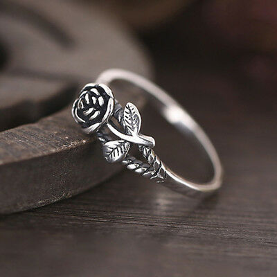 Fashion Rose Flower 925 Silver Jewelry Wedding Rings for Women Ring Size 6-10