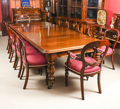 Antique 10 ft Flame Mahogany Dining Table C1840 & 12 balloon back chairs