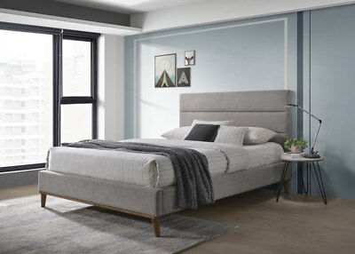 Bruges Grey Bed Frame Fabric Modern Scandinavian Retro 4FT6 Double Size