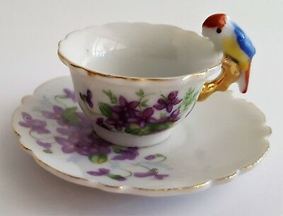 Miniature Tea Cup & Saucer Parrot Handle Violets Vintage Japan Tiki Island Decor
